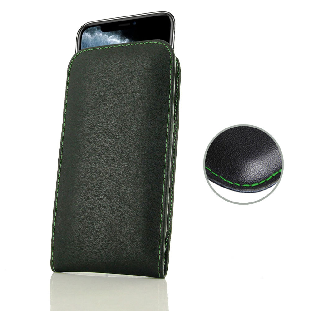 10% OFF + FREE SHIPPING, Buy the BEST PDair Handcrafted Premium Protective Carrying iPhone 11 Pro Max Leather Sleeve Pouch Case (Green Stitch). Exquisitely designed engineered for iPhone 11 Pro Max.