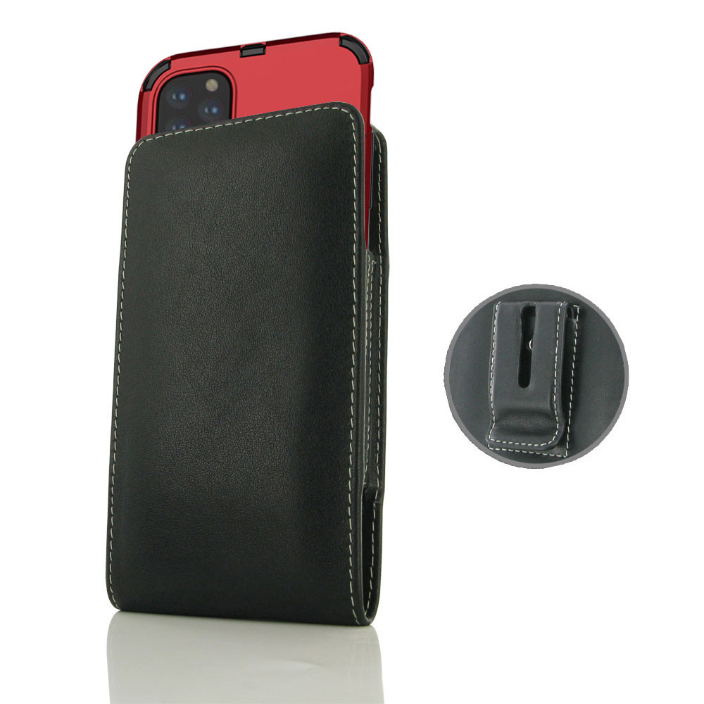 iPhone 11 Pro Max (in Large Size Armor Protective Case Cover) Pouch Clip Case sspecially custom designed for the device in Large Size Armor Protective Case, Hybrid Case or bumper. Traditional design and full protection. This handmade carrying case allows
