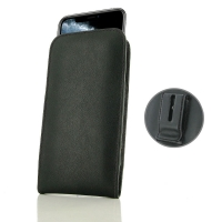 Leather Vertical Pouch Belt Clip Case for Apple iPhone 11 Pro (Black Stitch)