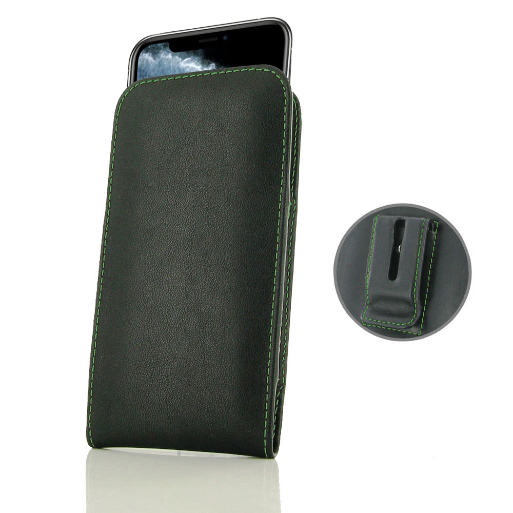 10% OFF + FREE SHIPPING, Buy the BEST PDair Handcrafted Premium Protective Carrying iPhone 11 Pro Pouch Case with Belt Clip (Green Stitch). Exquisitely designed engineered for iPhone 11 Pro.