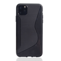 Soft Plastic Case for Apple iPhone 11 Pro (Black S Shape pattern)