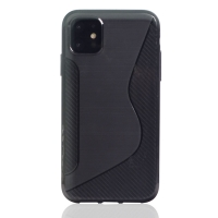 Soft Plastic Case for Apple iPhone 11 (Black S Shape pattern)