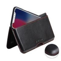 Leather Wallet Pouch for Apple iPhone X | iPhone 10 ( Compatible with 1.0 mm Slim Case / Cover on )  (Red Stitch)