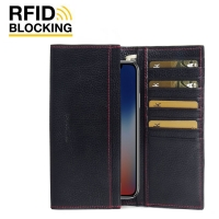 Continental Leather RFID Blocking Wallet Case for Apple iPhone X | iPhone 10 (Black Pebble Leather/Red Stitch)