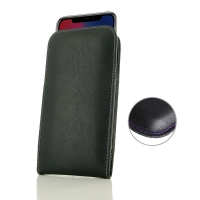 Leather Vertical Pouch Case for Apple iPhone X | iPhone 10 (Purple Stitch)
