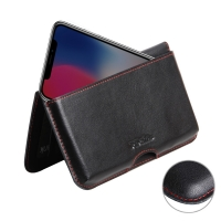 Leather Wallet Pouch for Apple iPhone X | iPhone 10 (Red Stitch)
