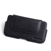 Luxury Leather Holster Pouch Case for Apple iPhone XS (in Slim Case/Cover) (Black Stitch)