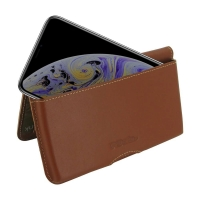 Leather Wallet Pouch for Apple iPhone XS (Brown)