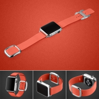 Modern Buckle Leather Smart Band Strap for Apple Watch 38mm (Red)