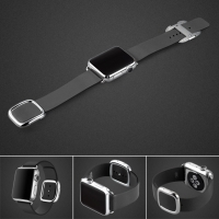 Apple Watch 42mm Modern Buckle Leather Smart Band Strap (Black):: PDair