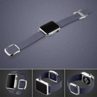 Apple Watch 42mm Modern Buckle Leather Smart Band Strap (Deep Blue):: PDair