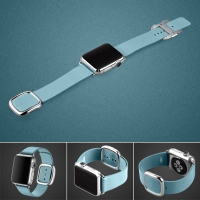 Apple Watch 42mm Modern Buckle Leather Smart Band Strap (Light Blue):: PDair