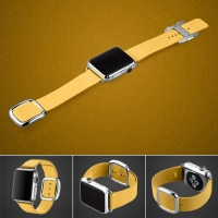 Apple Watch 42mm Modern Buckle Leather Smart Band Strap (Yellow):: PDair