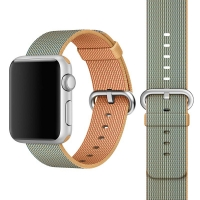 Apple Watch 42mm Woven Nylon Band Strap (Gold Blue):: PDair