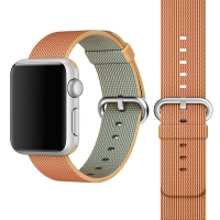 Apple Watch 42mm Woven Nylon Band Strap (Gold Red):: PDair