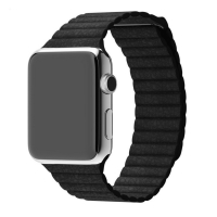 Leather Loop Band Strap for Apple Watch Series 4 44mm (Black)