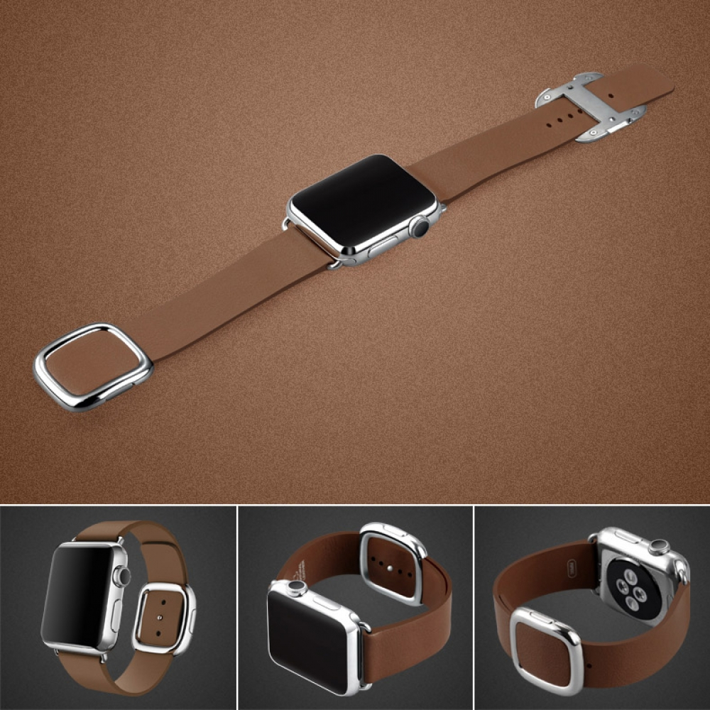 Apple Watch Series 5   Series 4 44mm Modern Buckle Leather Smart Band Strap (Brown) is designed to wear fashionable look to your device. It can personalize your iWatch with this refined strap compared to Apple ones, but more attractive cost.It is 1:1 as o