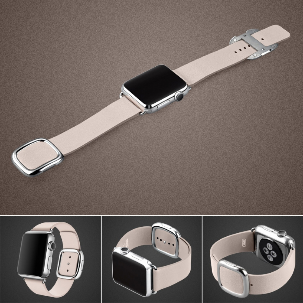 Apple Watch Series 5 | Series 4 44mm Modern Buckle Leather Smart Band Strap (Pink) is designed to wear fashionable look to your device. It can personalize your iWatch with this refined strap compared to Apple ones, but more attractive cost.It is 1:1 as or