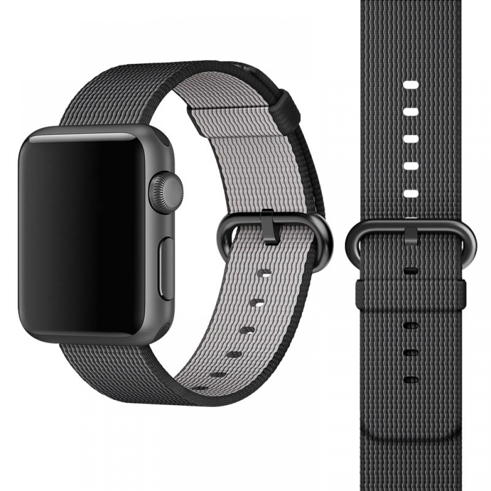 Woven Nylon Band Strap for Apple Watch Series 3 42mm (Black)