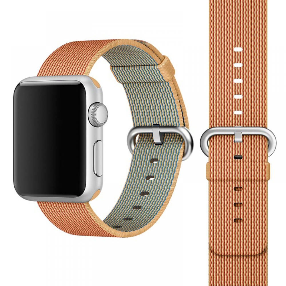 Apple Watch Series 5 | Series 4 44mm Woven Nylon Band Strap (Gold Red) is designed to wear fashionable look to your device. It can personalize your iWatch with this refined strap compared to Apple ones, but more attractive cost. Woven on specialized Itali