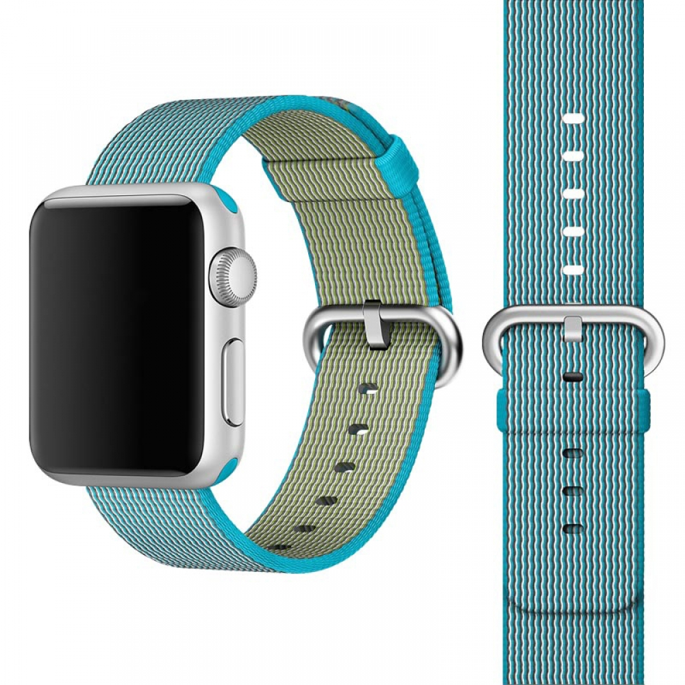 Apple Watch Series 5 | Series 4 44mm Woven Nylon Band Strap (Light Blue) is designed to wear fashionable look to your device. It can personalize your iWatch with this refined strap compared to Apple ones, but more attractive cost. Woven on specialized Ita