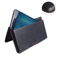 Leather Wallet Pouch for Asus Zenfone 3 Zoom ZE553KL (Red Stitch)