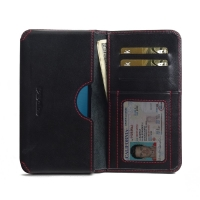 Leather Card Wallet for Asus Zenfone 3 Zoom ZE553KL (Red Stitch)