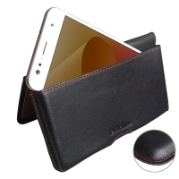 Leather Wallet Pouch for Asus Zenfone 4 Selfie ZD553KL (Red Stitch)