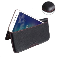 Leather Wallet Pouch for Asus Zenfone Live (Red Stitch)