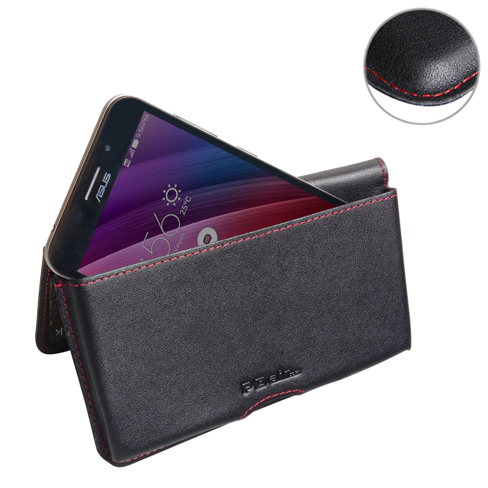 Asus Zenfone Max Pouch Sleeve Pdair Flip Case Cover Wallet Holster Zc550kl 2 32gb Black Leather For Red Stitch