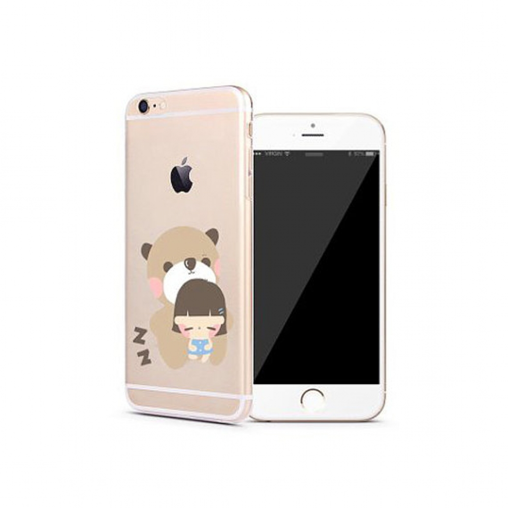10% OFF + FREE SHIPPING, Buy PDair iPhone Pattern Printed Soft Clear Case (Bear Hug Baby Girl) which is available for iPhone 5 | iPhone 5s SE 6 6s, iPhone 6 Plus | iPhone 6s Plus. You also can go to the customizer to create your own stylish leather case i