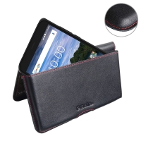 Leather Wallet Pouch for BlackBerry Aurora (Red Stitch)