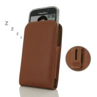 Leather Vertical Pouch Belt Clip Case for BlackBerry Classic (in Slim Case/Cover) (Brown)