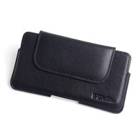 BlackBerry DTEK60 Leather Holster Pouch Case (Black Stitch) PDair Premium Hadmade Genuine Leather Protective Case Sleeve Wallet