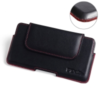 BlackBerry DTEK60 Leather Holster Pouch Case (Red Stitch) PDair Premium Hadmade Genuine Leather Protective Case Sleeve Wallet