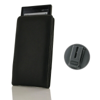 Leather Vertical Pouch Belt Clip Case for BlackBerry KEY2 ( Compatible with Official Original Soft Shell / 1.0 mm Slim Case / Cover on )