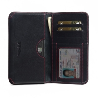 Leather Card Wallet for BlackBerry KEY2 | BlackBerry KEY2 LE (Red Stitch)