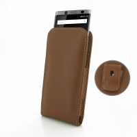 Leather Vertical Pouch Belt Clip Case for BlackBerry KEY2 (Brown)