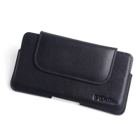 Luxury Leather Holster Pouch Case for BlackBerry KEYone | Mercury | DTEK70 (in Slim Case/Cover) (Black Stitch)