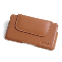 Luxury Leather Holster Pouch Case for BlackBerry KEYone | Mercury | DTEK70 (in Slim Case/Cover) (Brown)