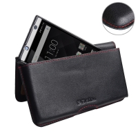 Leather Wallet Pouch for BlackBerry KEYone | Mercury | DTEK70 (in Slim Case/Cover) (Red Stitch)