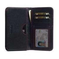Leather Card Wallet  for BlackBerry KEYone | Mercury | DTEK70 (in Slim Case/Cover) (Red Stitch)