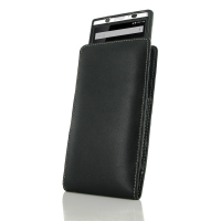 Leather Vertical Pouch Case for BlackBerry KEYone | Mercury | DTEK70 (in Slim Case/Cover)