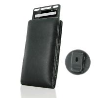 Leather Vertical Pouch Belt Clip Case for BlackBerry KEYone | Mercury | DTEK70 (in Slim Case/Cover)