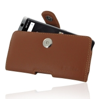 Leather Horizontal Pouch Case with Belt Clip for BlackBerry KEYone | Mercury | DTEK70 (Brown)
