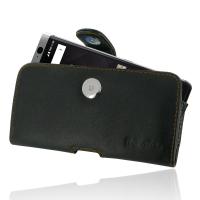 Leather Horizontal Pouch Case with Belt Clip for BlackBerry KEYone | Mercury | DTEK70  (Orange Stitch)
