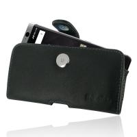 Leather Horizontal Pouch Case with Belt Clip for BlackBerry KEYone | Mercury | DTEK70 (Purple Stitch)