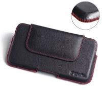 Luxury Leather Holster Pouch Case for BlackBerry KEYone | Mercury | DTEK70 (Red Stitch)