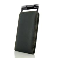 Leather Vertical Pouch Case for BlackBerry KEYone | Mercury | DTEK70  (Orange Stitch)