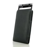 Leather Vertical Pouch Case for BlackBerry KEYone | Mercury | DTEK70 (Purple Stitch)